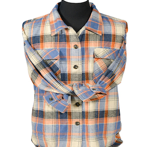 Flannel overshirts women shacket plaid navy pink