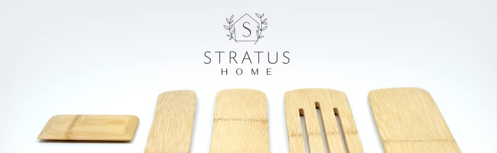 Stratus Home logo with photo of bamboo spurtle set and scraper