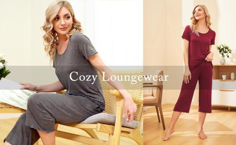 100% Cotton Women Pajama Capri Pants Set Summer Short Sleeve Sleepwear