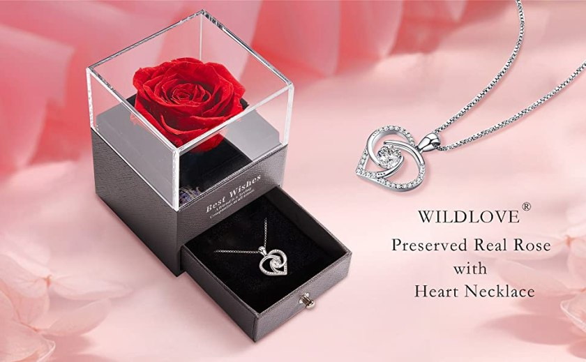 WILDLOVE preserved real rose flower with heart necklace gifts for mom wife girlfriend best friend