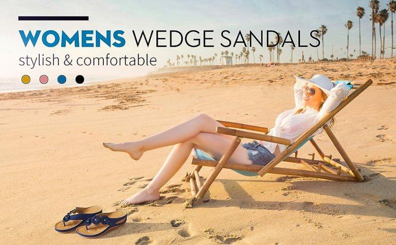 slide wedge sandal flower flip-flop sandals ladies walking sandals women casual summer sandals pink