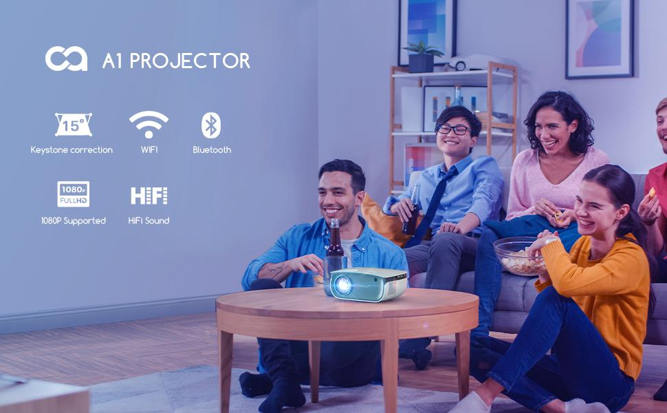 The projector supports WiFi and Bluetooth connections