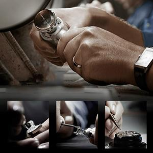 Mens Watch Black Leather Band Automatic Movement Mechanical Wristwatch Men Stainless Steel Analog