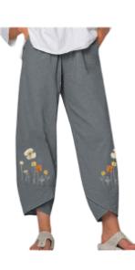 Women Capris Harem Linen Pants