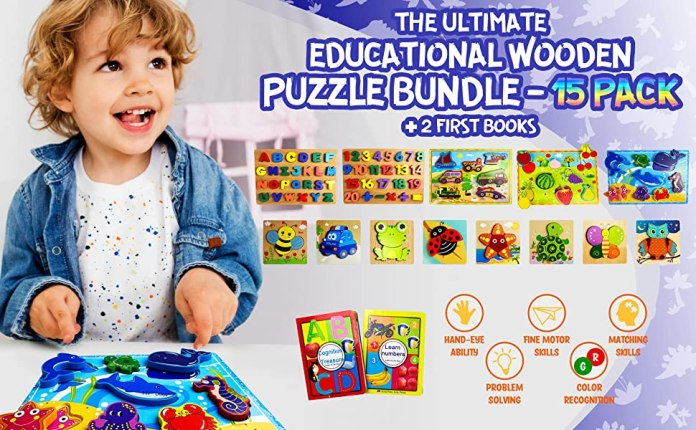 15 Pack Wooden Puzzle Bundle + 2 First Books