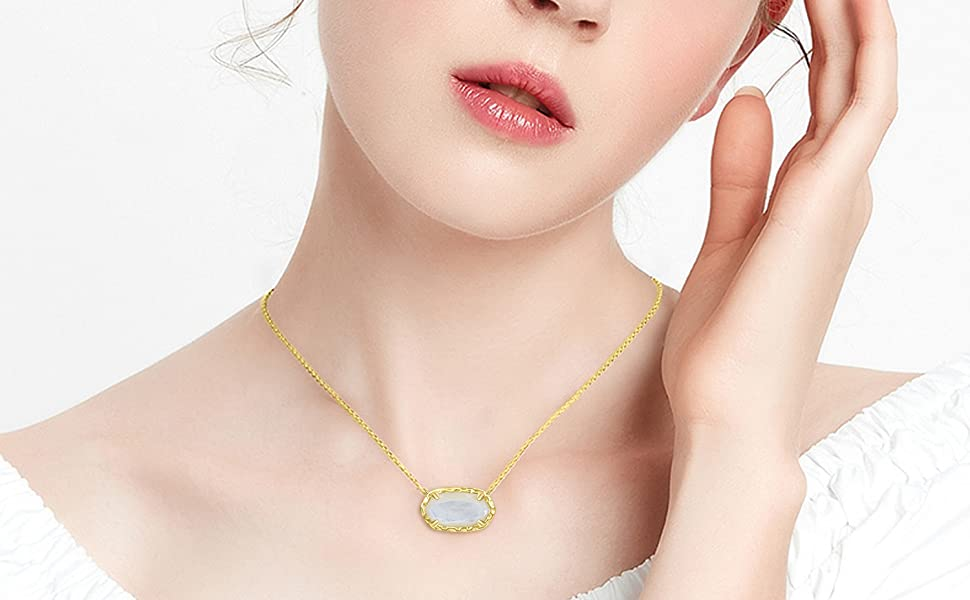 TOUPOP 14K Gold Plated with Withe  Pendent Necklace Gift for Her