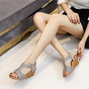 black wedge sandals for women