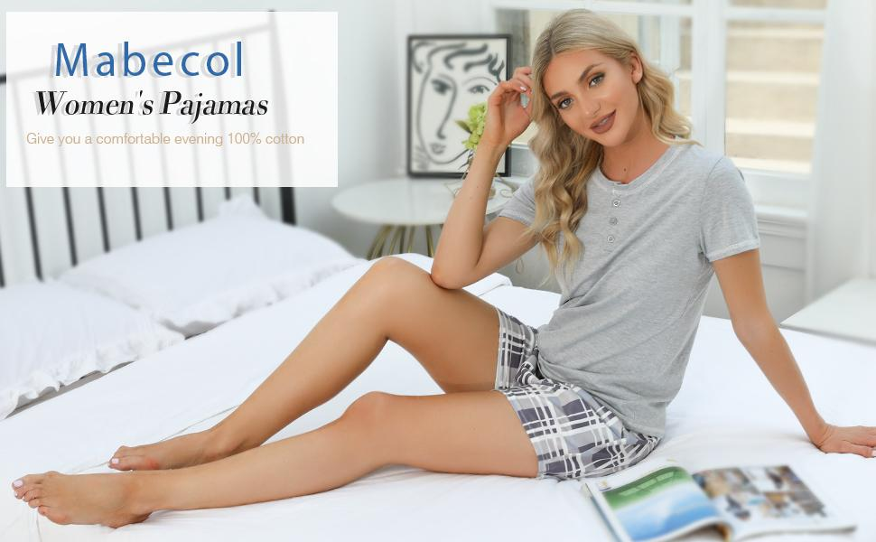 Mabecol Schlafanzug Damen Kurz Pyjama 1