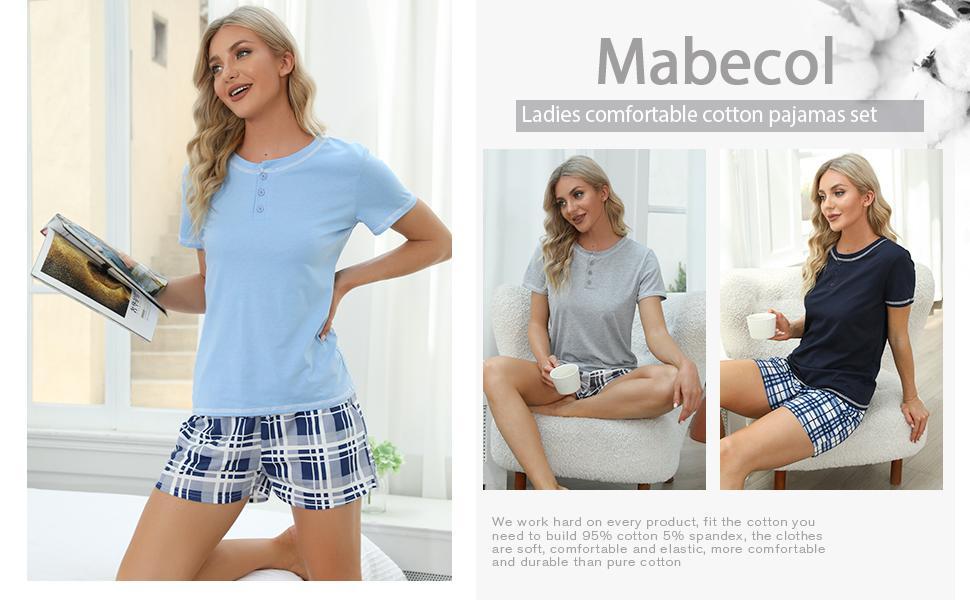 Mabecol Schlafanzug Damen Kurz Pyjama 2
