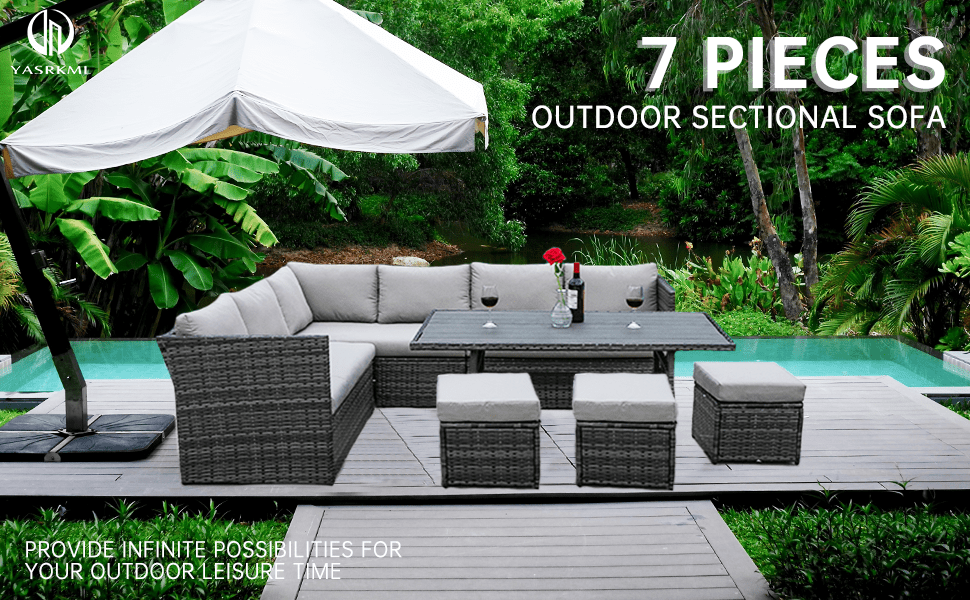 7 Pieces Outdoor Wicker Furniture Conversation Set Patio Furniture Sectional Sofa Couch