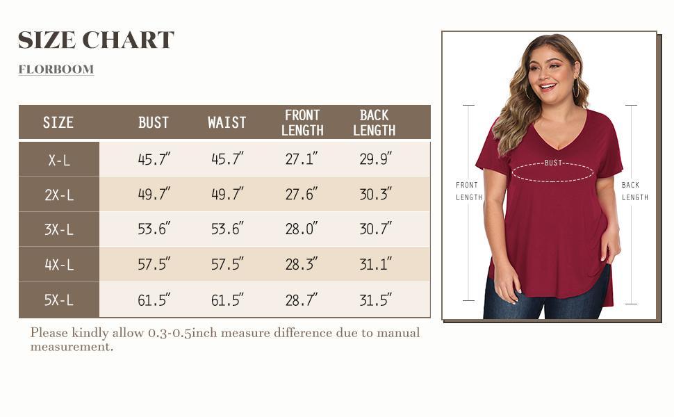 Plus size t shirt size chart
