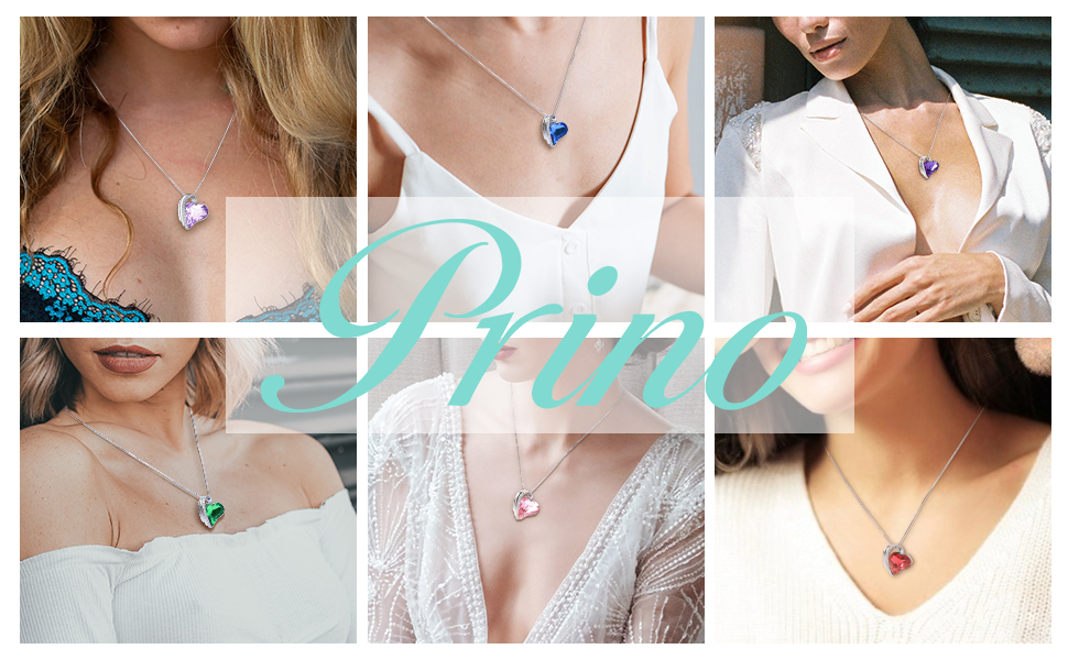 Prino crystal Love Heart Pendant Necklace for women