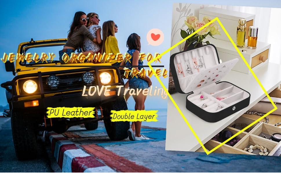 travel Jewelry Case,Double Layer Jewelry Travel Box,Travel Jewelry Case