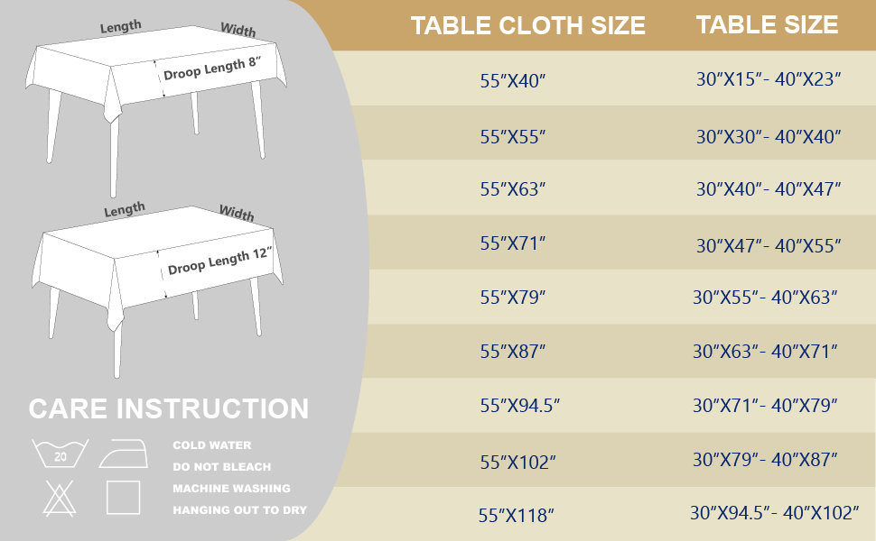 table cloth size recommend