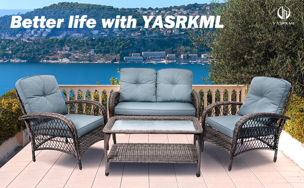 4pcs Outdoor Patio Furniture Set Wicker Conversation Set with Waterproof Cushion