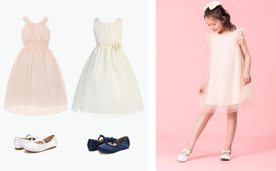 girls flats dress shoes flower first communion Princess ballet cute