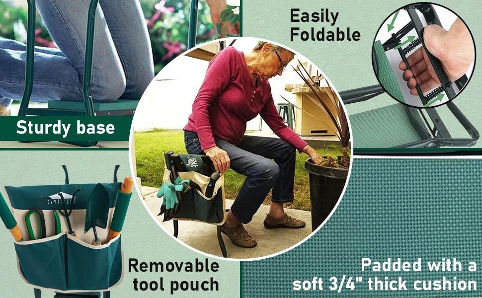 Garden Kneeler and Seat, Foldable Garden Stool Heavy Duty Gardening Bench