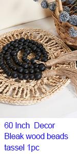 60 Inch Decor bleak wood beads tassel 1pc