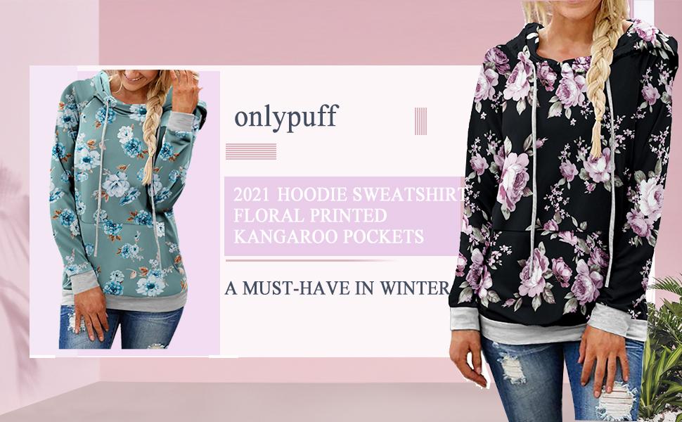 onlypuff Womens Floral Hoodie Sweatshirt