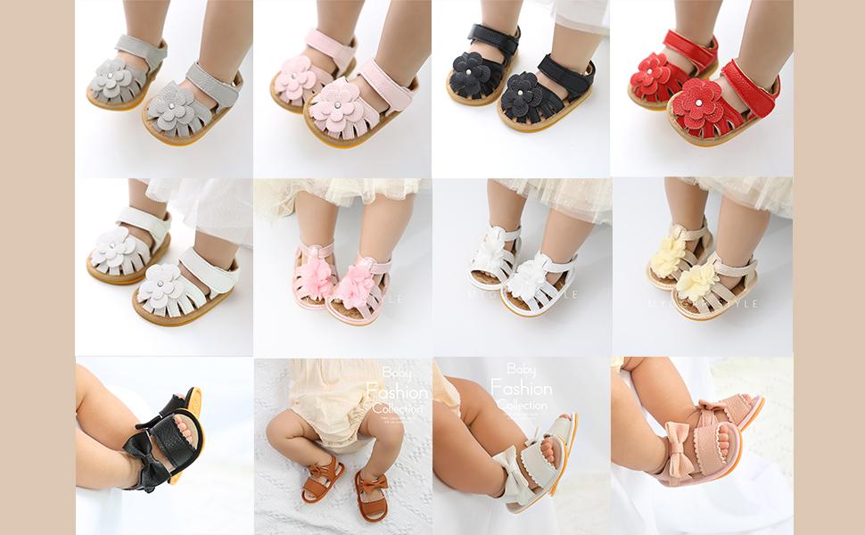 summer baby girls flower shoes