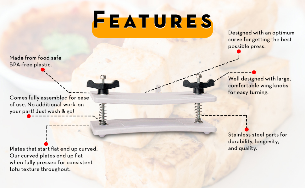 SPN-T2G Tofu Press - by Healthy Express - Premium curved plates for superior pressing results