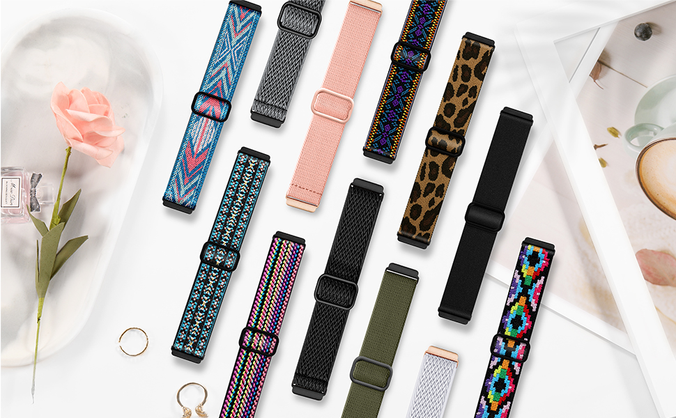 Maledan Adjustable Elastic Watch Bands Compatible with Fitbit Versa 2 Smart Watch