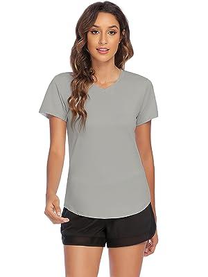 grey v neck sports shirt for women