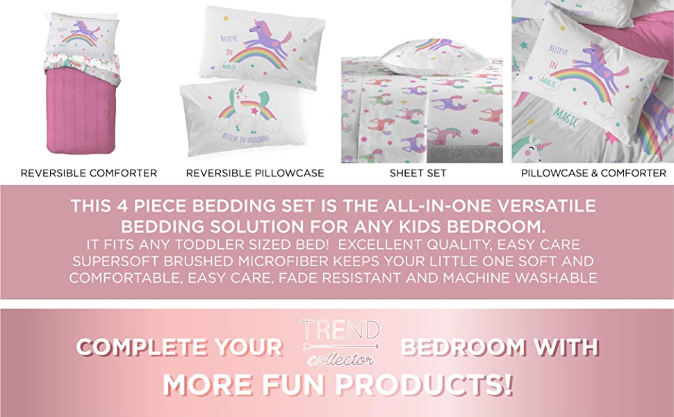Rainbow, Unicorn, Bed Set, Sheet Set