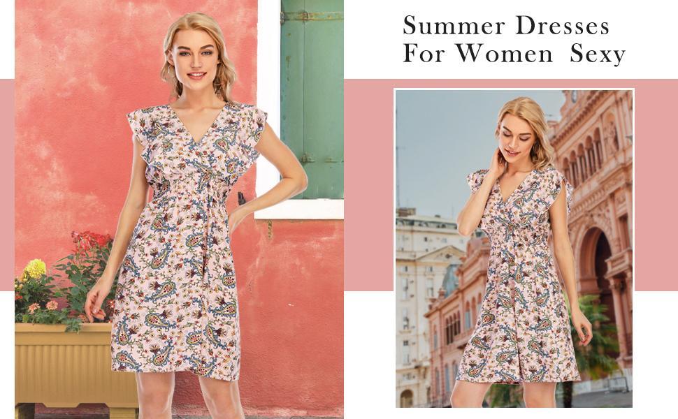 floral Print Casual Short Beach Dresses