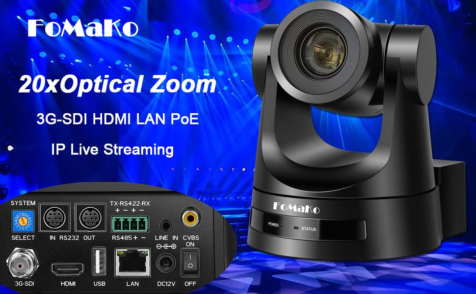 FoMaKo 20xZoom 3G-SDI HDMI IP live streaming camera