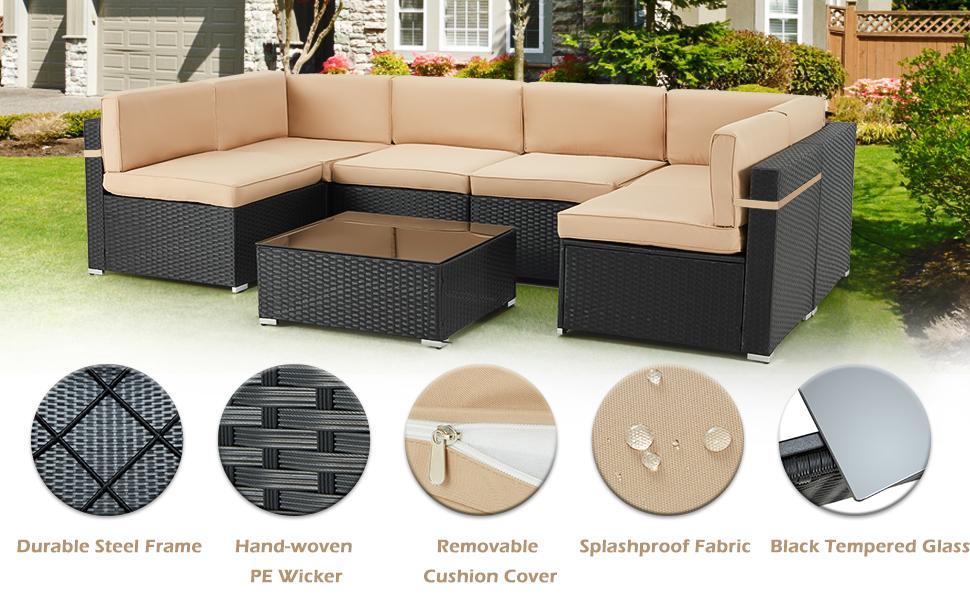 Sectional Sofa Patio Conversation Set, wicker rattan outdoor sofa set,7 Pieces Patio Furniture