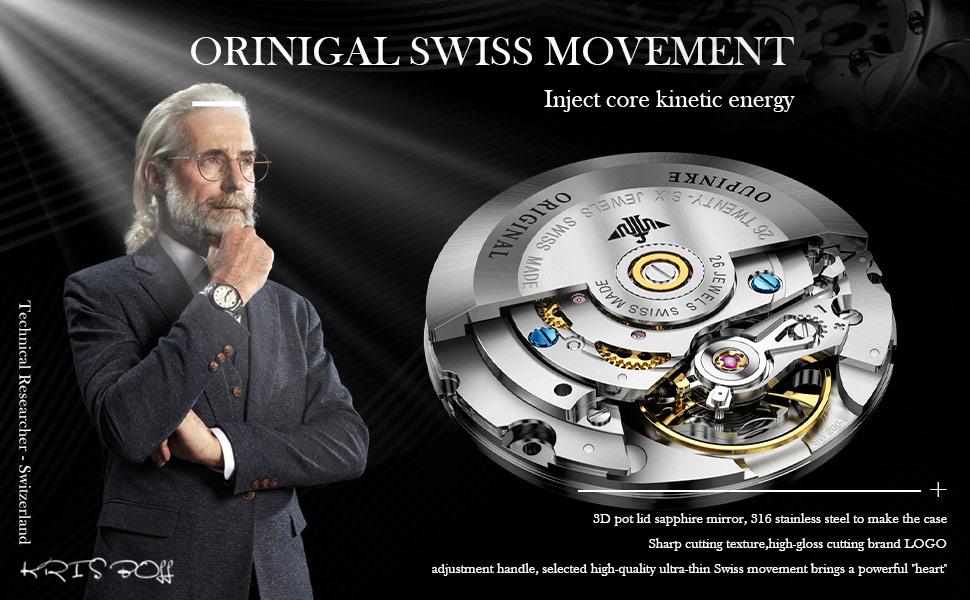 Oupinke Original Swiss Mechanical Wrist Watches for Mens