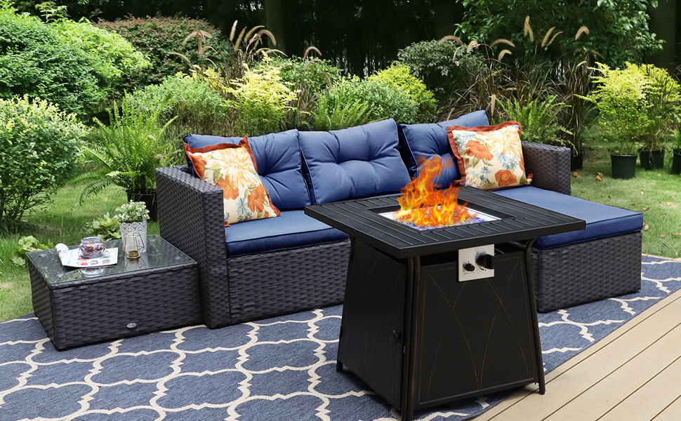 outdoor sectional furniture sofa set with fire pit