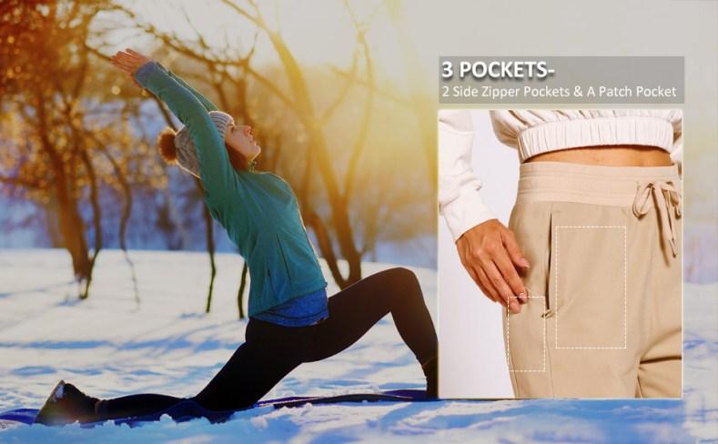 womens fleece lined joggers with zipper pockets