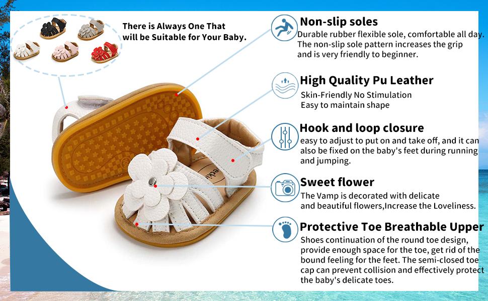 baby boys girls 0-6/6-12/12-18months flower summer shoes