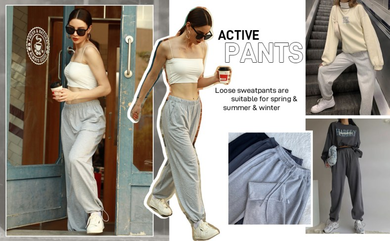 Elastic Waisted Sweatpants with Pockets for Women