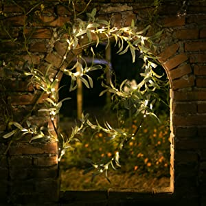 olive garland with lights