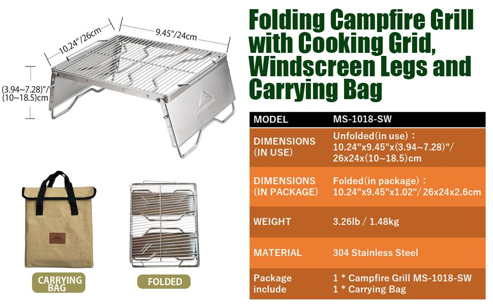 camping grill with cooking grid