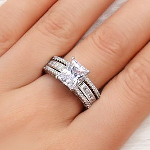 Cubic Zirconia Engagement Ring Wedding Band