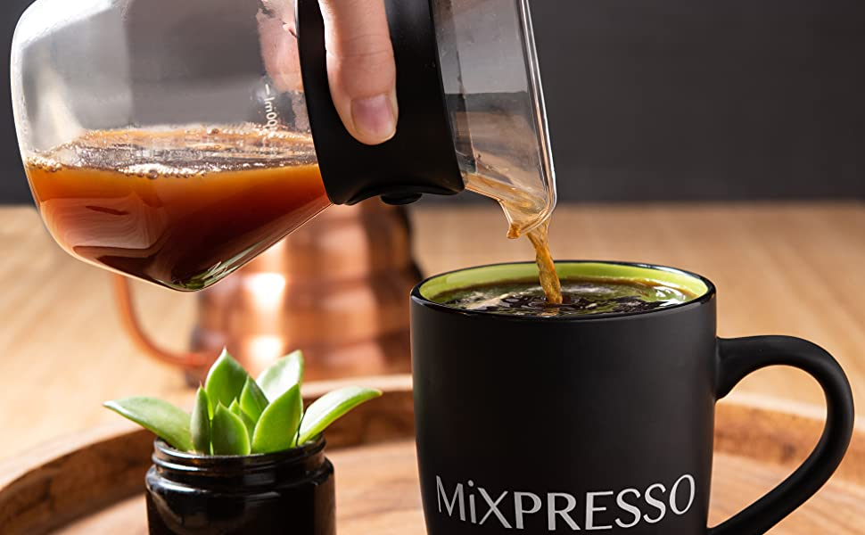 Pour your hot coffee to enjoy the moment