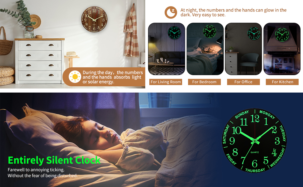Large Digital Atomic Wooden Wall Clocks Battery Operated for Kitchen Bedroom Bathroom Dector