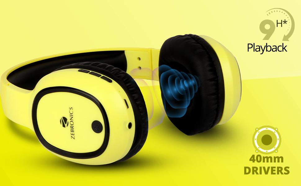 40mm driver advanced deep bass zebronics wireless headphone