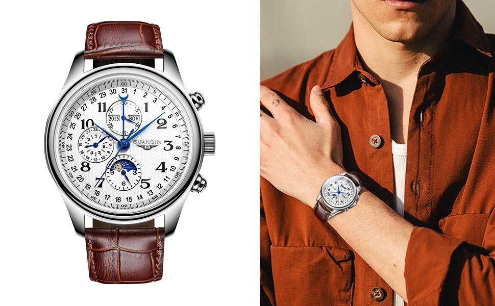 Mens Watch Automatic Self Winding Movement Stainless Steel Wristwatch with Leather Strap Watch