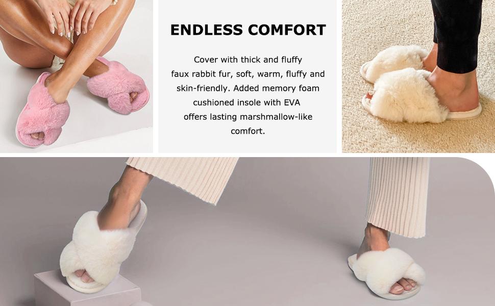 Soft Plush Furry Cozy Open Toe House Shoes