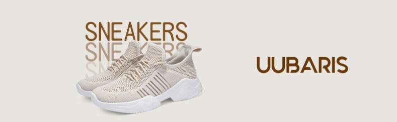 uubaris women beige sneaker fahsion walking shoes running workout breathable comfortable soft