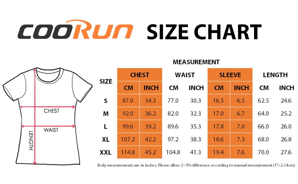 COOrun size chart