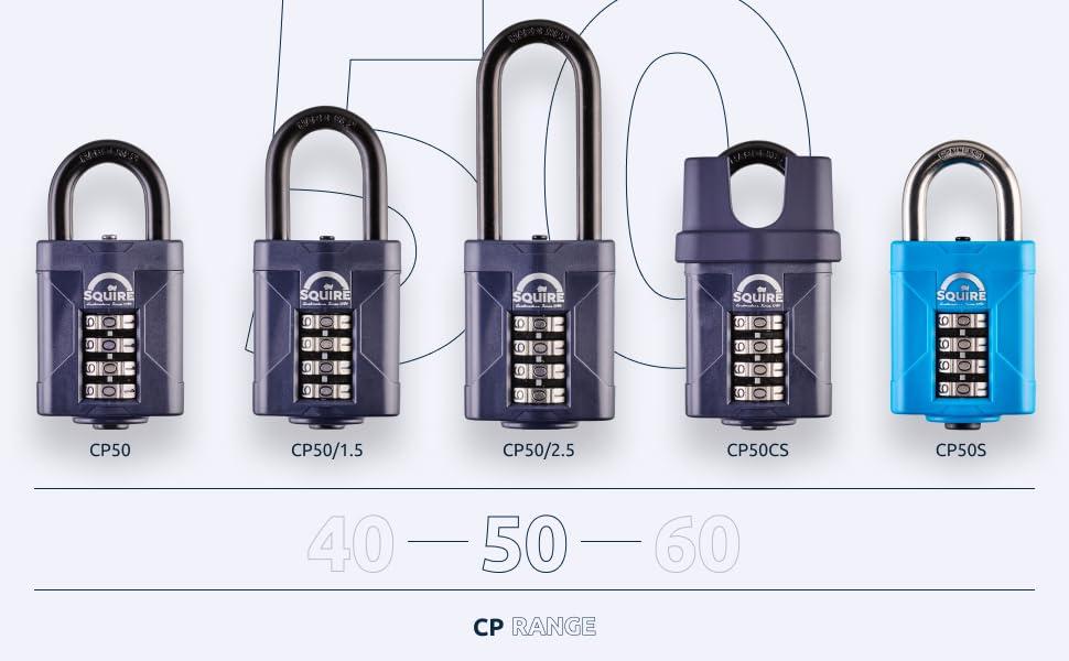 squire lock CP 50 serisi için ürün yelpazesi