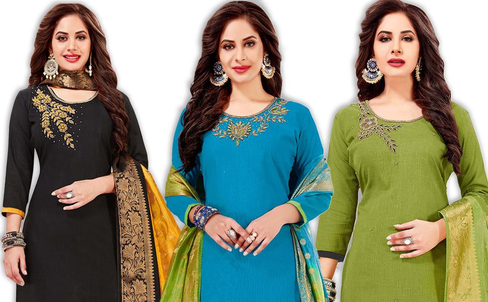 salwar suit kameez dress material top bottom dupatta set
