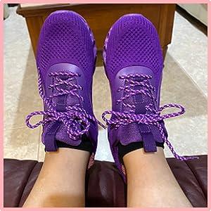 purple women shoes walking