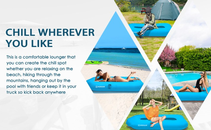 Inflatable couch for beach, backyard, hiking, pool